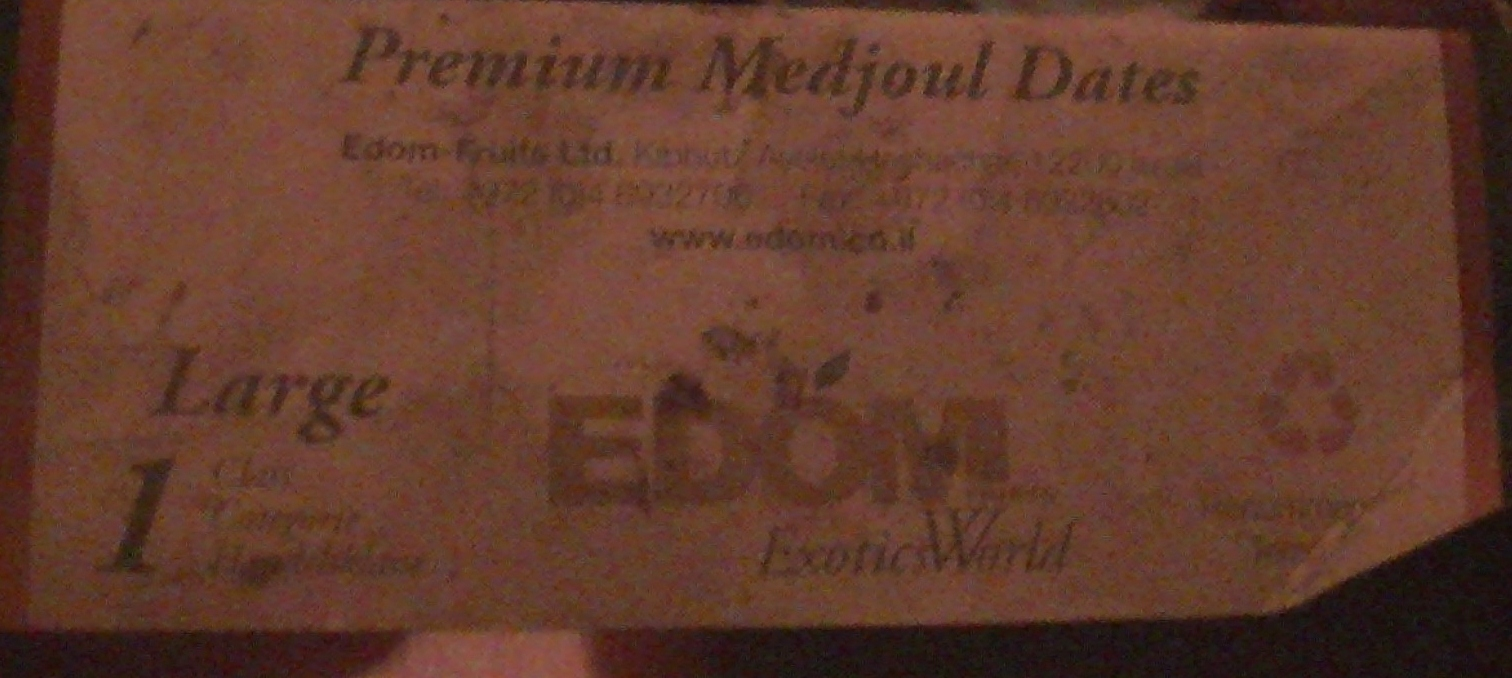 EDOM packaging found in the illegal Israeli settlement of Tomer