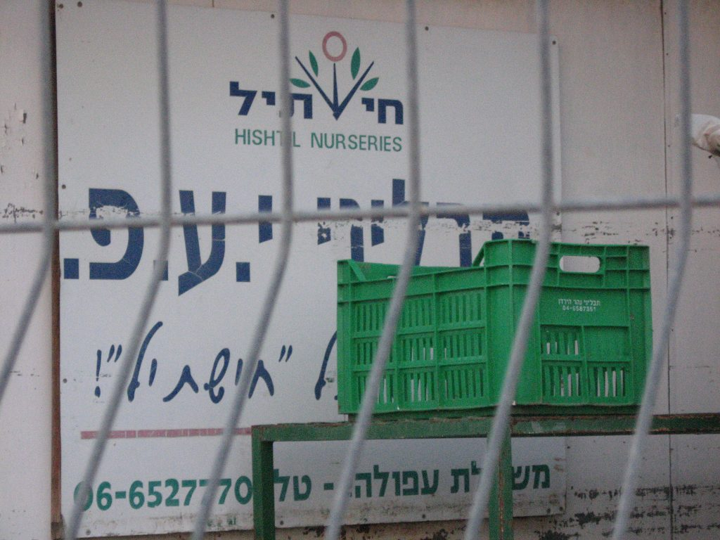 Hishtil nurseries packing house in the illegal Israeli settlement of Mehola