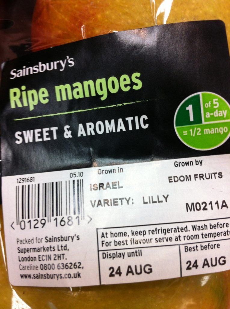 Mangoes supplied by EDOM in Sainsburys, UK