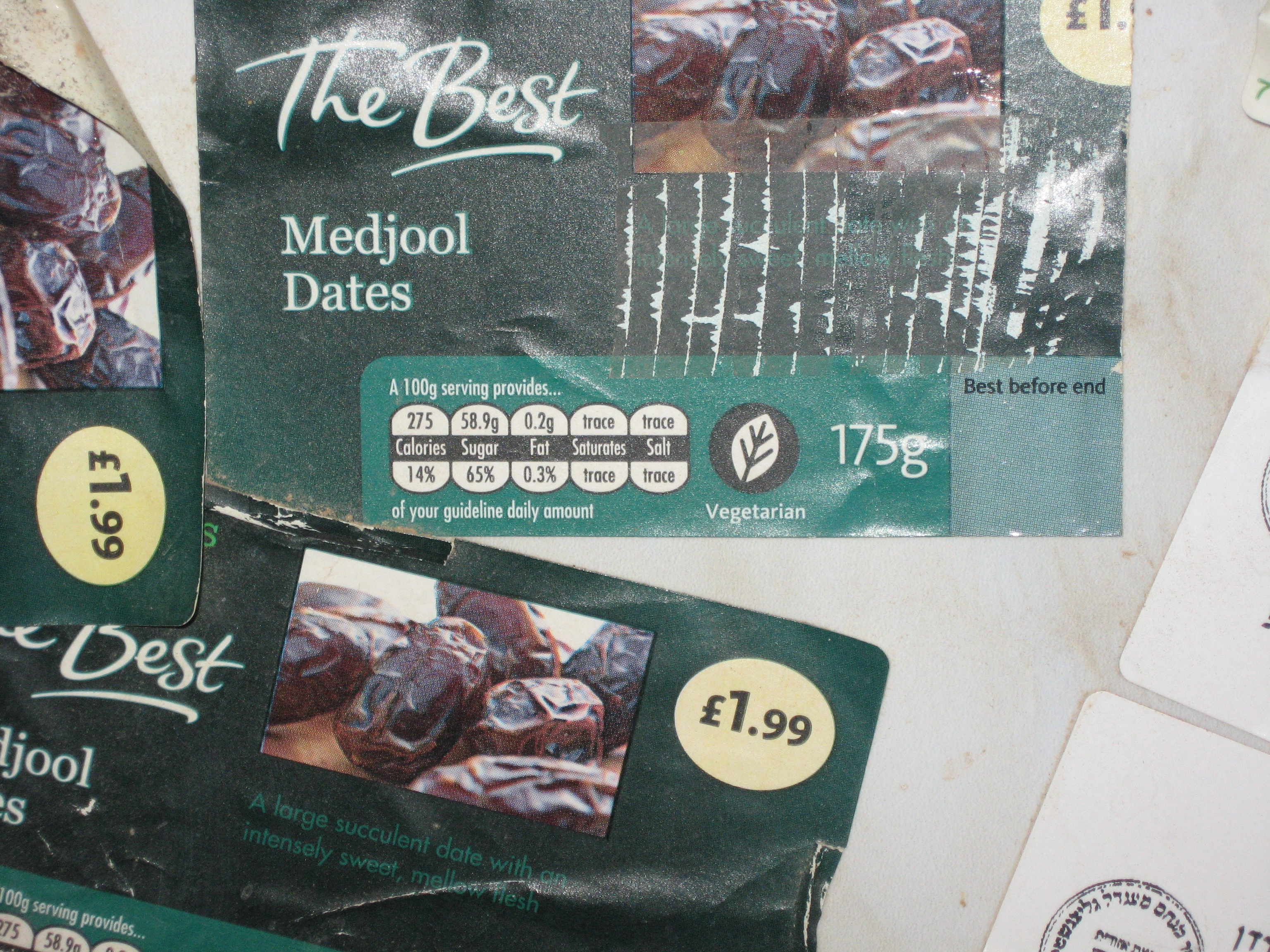 Labels manufactured for packaging Morrisons own brand Medjoul dates in the illegal Israeli settlement of Tomer