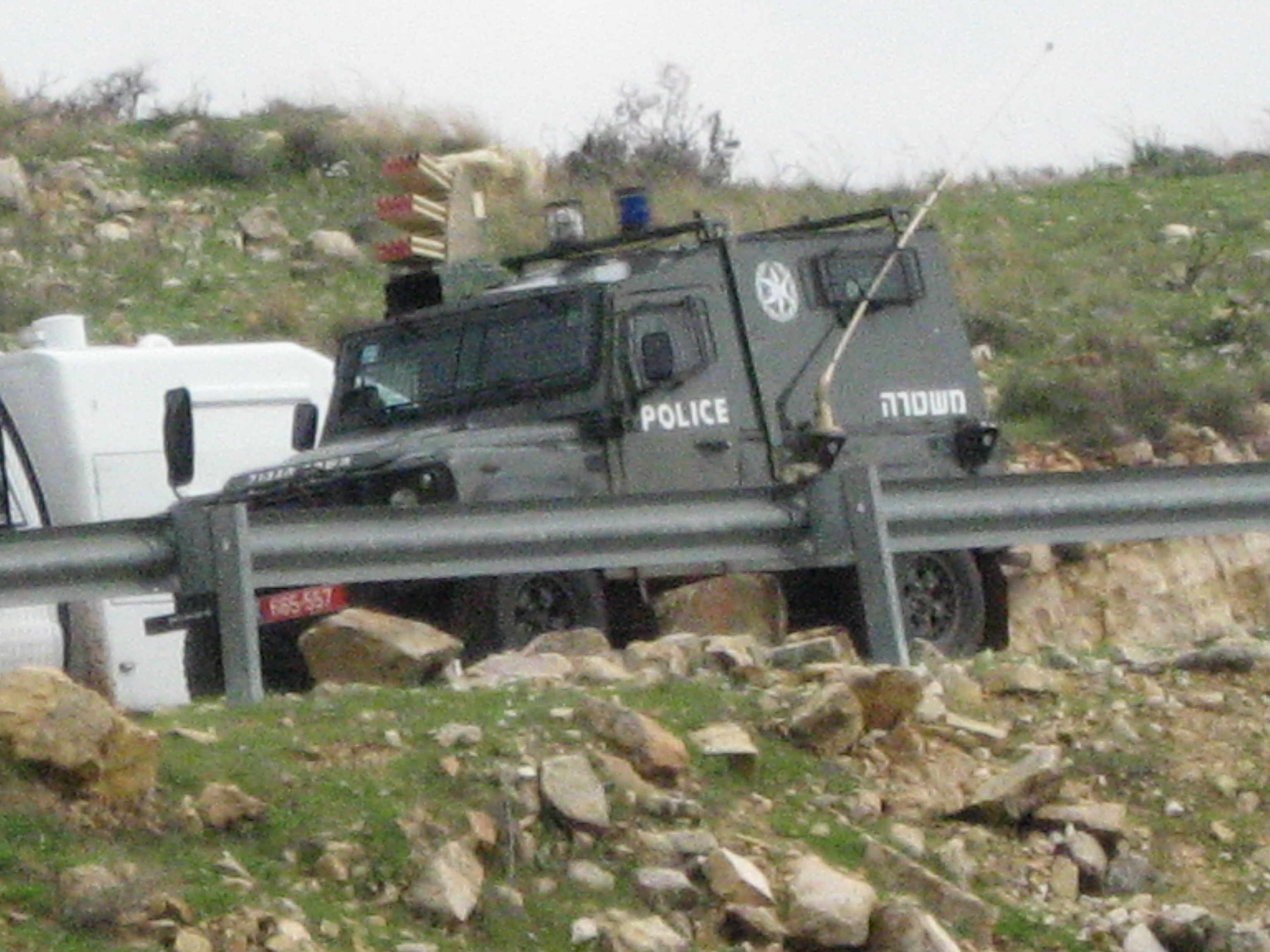 Israeli Police vehicle with mounted tear gas launcher at an anti occupation demonstration in the Palestinian village of Nabi Saleh - 11/1/13