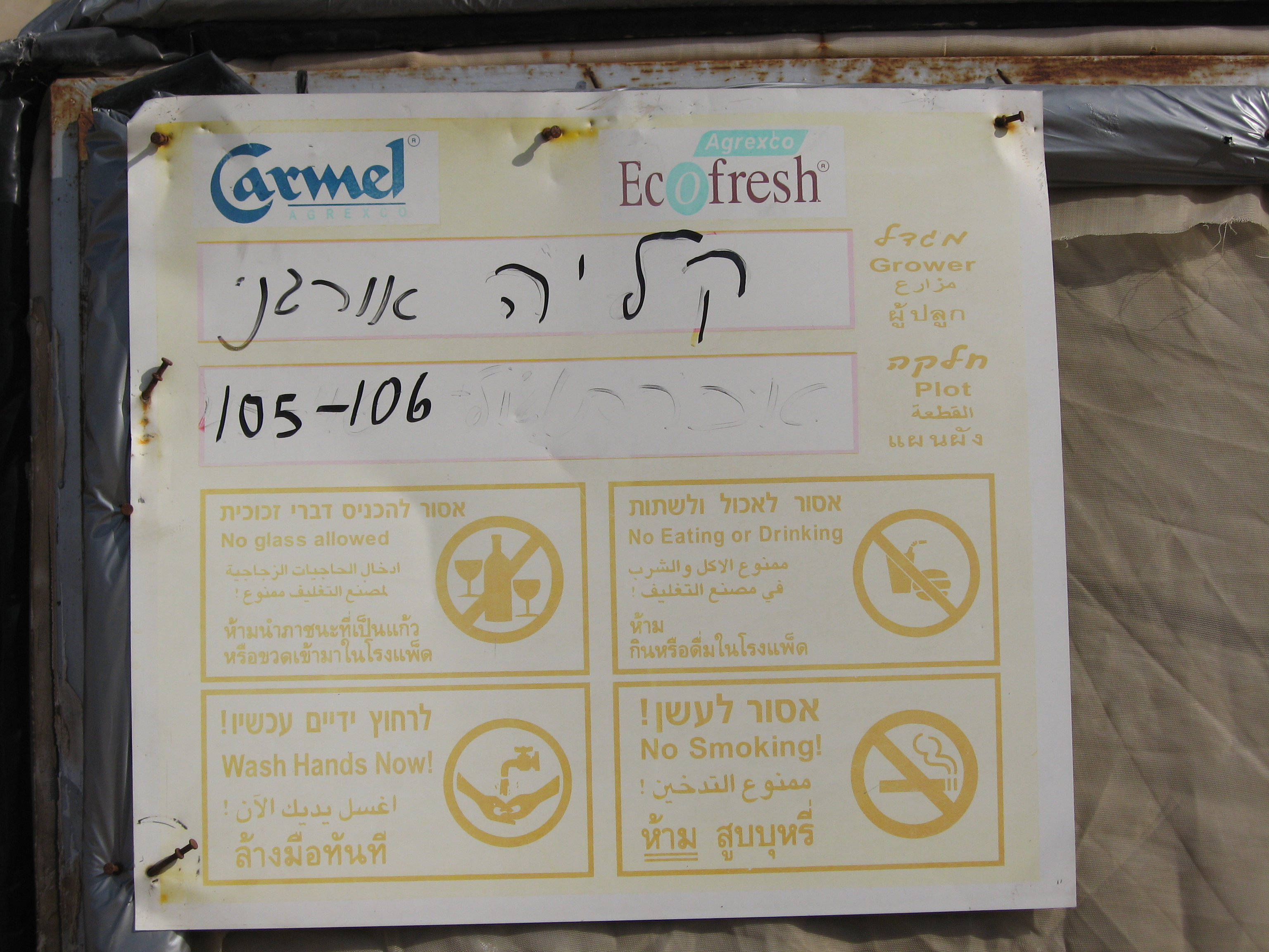 A sign in the fields of the illegal settlement of Kalia in the Israeli occupied Jordan Valley for 'organic goods' grown by Hayun Yitzhak - taken by Corporate Watch researchers on 26/01/2013