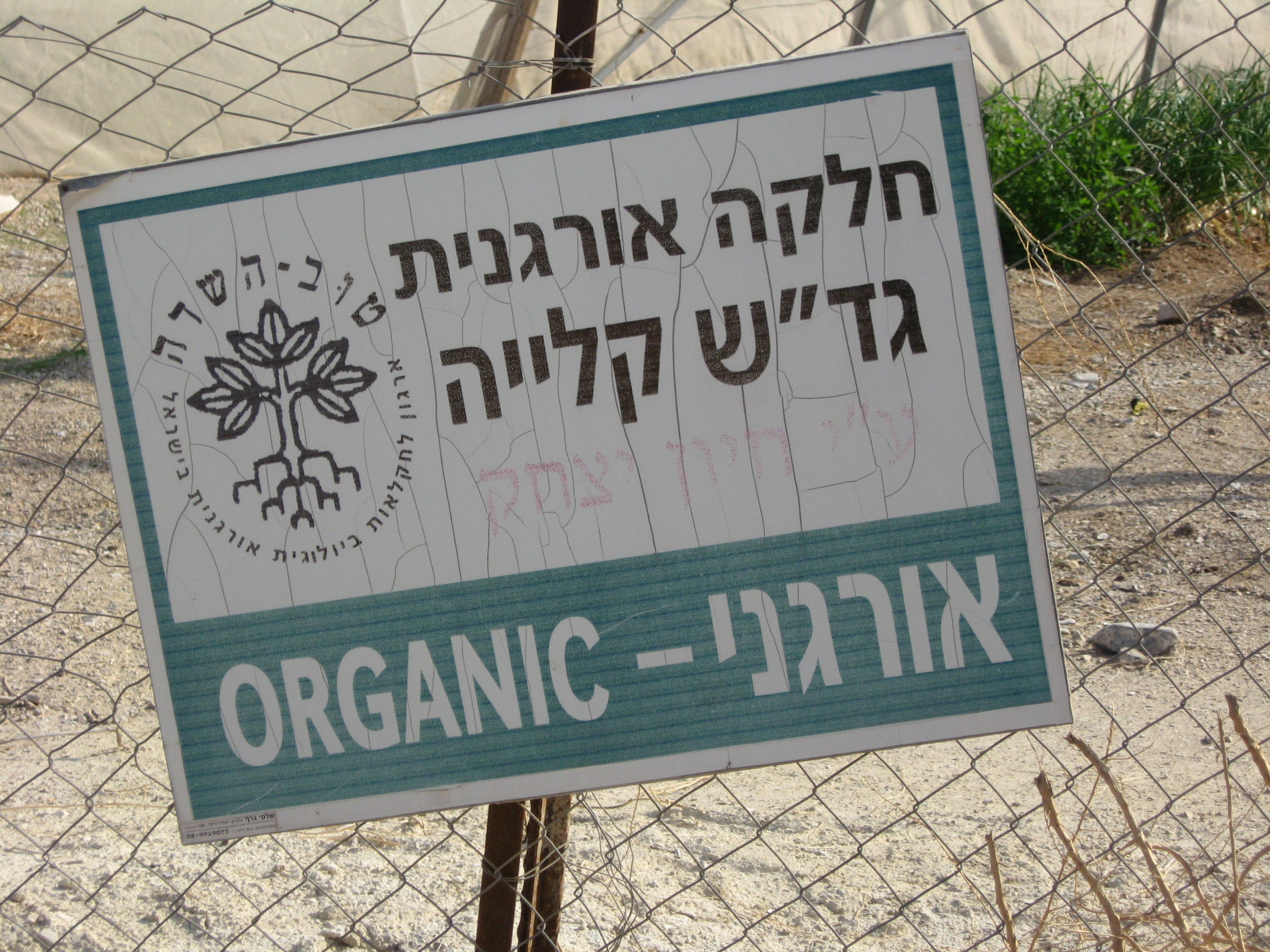 A sign for the Israel Bio Organic Association (IBOAA) in the fields of the illegal settlement of Kalia - photo taken by Corporate Watch researchers on 26/01/2013