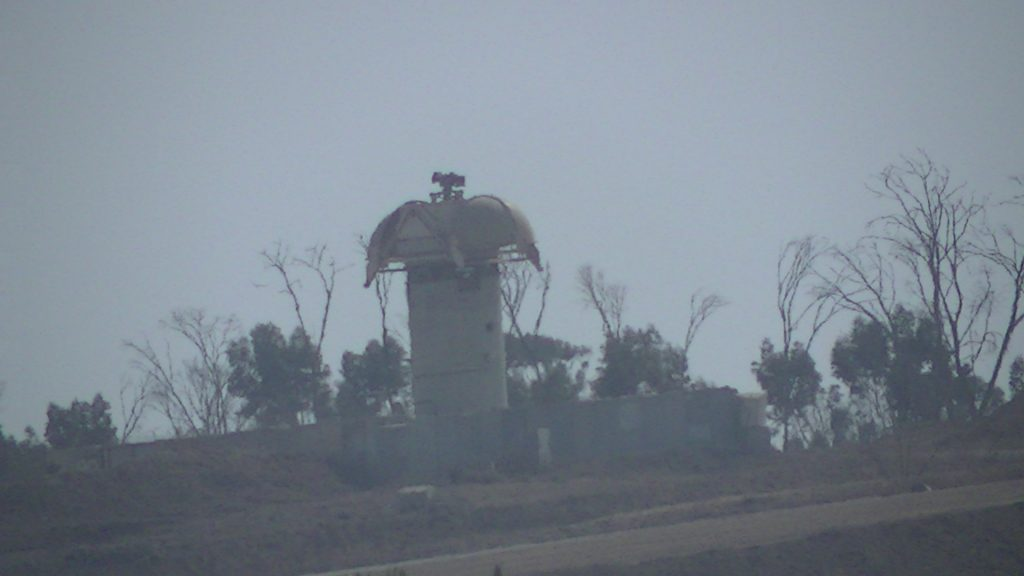Surveillance equipment on top of an Israeli guardpost, Zeitoun, Gaza - 10/11/13