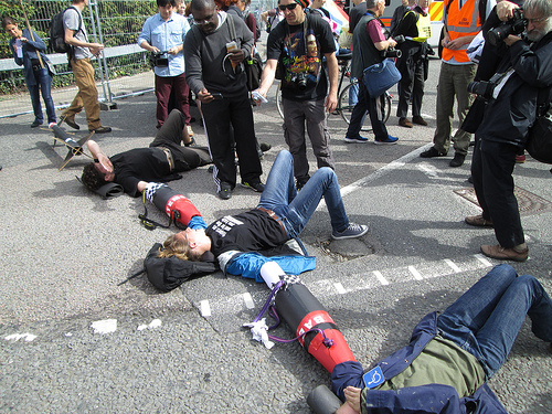 Blockade of the 2013 DSEi arms fair (Photo taken by Campaign against arms trade)