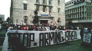 Barclays stop arming Israel demo