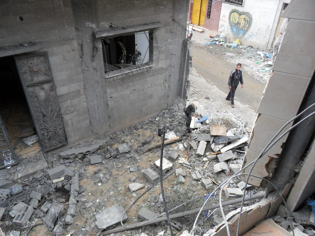 The scene in Zaytoun after the attack by an Israeli F-16, November 2012, photo courtesy of the Abu Zor family