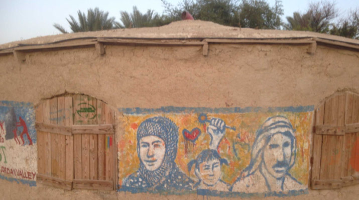 A community centre built by Jordan Valley Solidarity in the village of Fasayil using traditional bricks made from mud and straw. Photo by Bernard Spiegal.